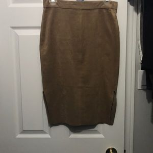 Suede camel color skirt - Aritzia Wilfred brand
